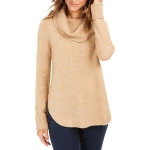 Style & Co Waffle Knit Cowl Neck Sweater Tan